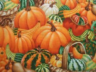 Timeless Treasures Pumpkins Gourds Thanksgiving Fabric