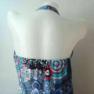 Evening Retro Hippie Halter Long Maxi Dress Womens S XL