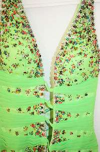 La Femme Green Beaded Sequin Halter Long Cocktail Party Gown Dress S 2