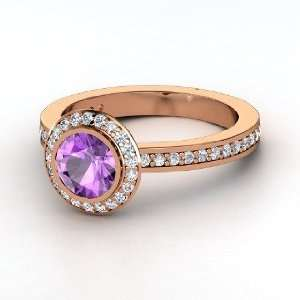 Roxanne Ring, Round Amethyst 14K Rose Gold Ring with