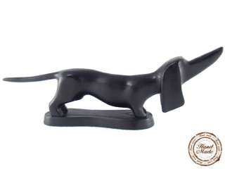 17 Black DACHSHUND Wood Hand Carved Sculpture Statue