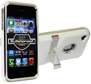 DELUXE RUBBERIZED HARD CASE COVER CHROME W/ STAND FOR IPHONE 4S 4G