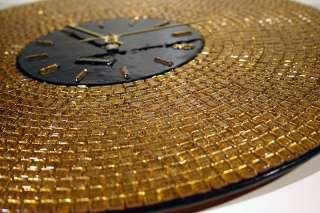 BNIB Brand New In Box Fused GOLD mosaic ART GLASS Wall Clock ART DECO