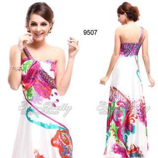 Padded Satin Rhinestones Floral Printed One Shoulder Prom Gown 09507HP