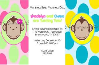 Personalized Twin Mod Monkey Birthday Invitations~ Girl, Boy