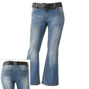 NEW ANGELS STRETCH HIPSTERS FLARE PLUS SZ WOMENS JUNIORS JEANS DENIM