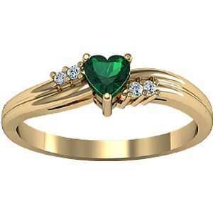 14K Yellow Gold Heart Shaped Chatham Created Emerald and