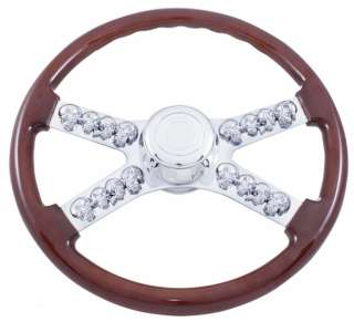 Peterbilt / Kenworth 18 Wood Steering Wheel with 3D Chrome Skulls
