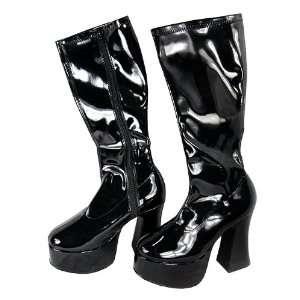 Black Platform Knee High Leather Boots   Size 7