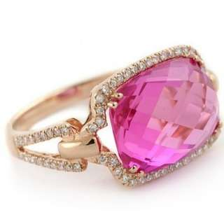 89CT HOT PINK QUARTZ & DIAMONDS 14K ROSE GOLD COCKTAIL RING