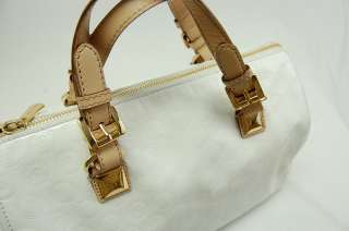MICHAEL KORS MK GRAYSON LARGE SATCHEL MONOGRAM MIRROR White Handbag $