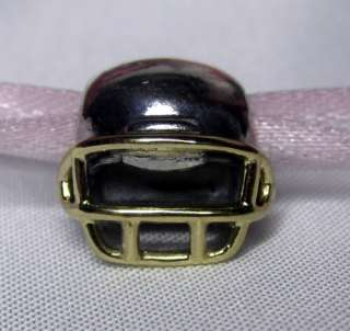 AUTHENTIC PANDORA STERLING SILVER FOOTBALL HELMET w 14K GOLD FACE MASK