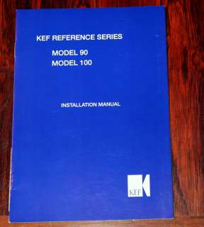 KEF Reference Series 90 100 Speaker Owners Manual *Orig