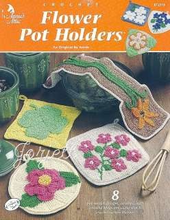 Flower Pot Holders, Annies floral crochet patterns