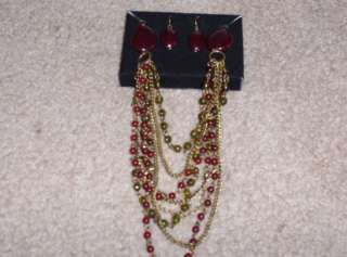 AVON JEWELRY BERRY MIX GIFT SET NECKLACE & EARRINGS