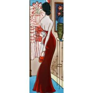 Tile Art   Modern Slender Dark Red Dress