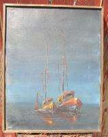 Oil Painting on Canvas Listed ? Ships at Dusk Signed Huebner