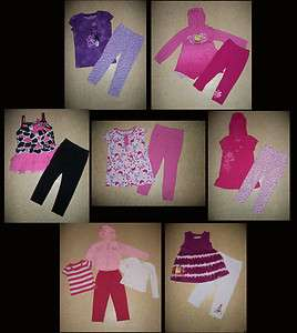 HUGE LOT GIRLS CLOTHES TOPS LEGGINGS SETS PLAY ACTIVE WEAR SIZE 4 5 6