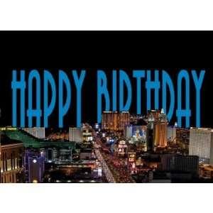 Las Vegas Strip Happy Birthday Card BLUE Health