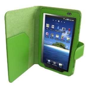 Modern Tech Green Faux Leather Flip Wallet Case for Samsung Galaxy Tab