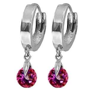 14k White Gold Huggie Earrings with dangling Pink Topaz