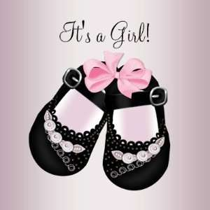 Black Baby Shoes Pink Baby Shower Stickers Arts, Crafts