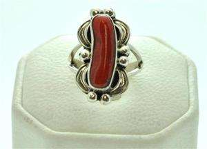 Navajo Coral Sterling Silver Womens Ring   Mary Ann Spencer