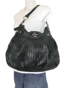 NEW GUESS B MARCIANO BLACK COOL DISCO LARGE HOBO TOTE BAG EMBOSSED