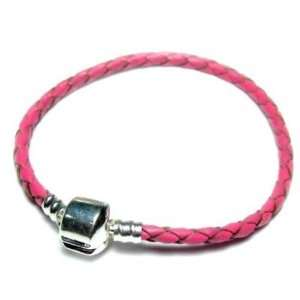 (ONE) High Quality Real Pink Leather Bracelet fit Beads