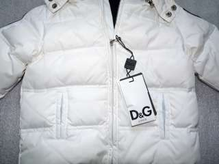 NWT D&G Junior White Infants Baby Boys Hooded Down Jacket Sz 12/18