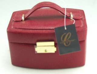 In Box Oval Red Genuine Leather Jewelry Box with Travel Case