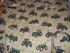 top with 1 1/2 foam .john deer tractors on brown fabric ,,,,