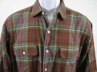 POLO RALPH LAUREN Mens Green Plaid Button Down Shirt L