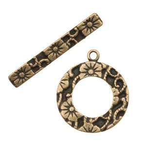 Antiqued Brass Floral Ring Toggle Clasp 20mm (1 Set) Arts