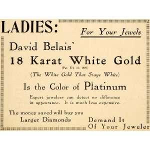 Ad Platinum Jewelry White Gold Karat Diamond Jewel   Original Print Ad