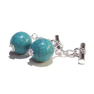 The Black Cat Jewellery Store Turquoise Chain Cufflinks