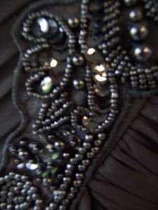 ALEX EVENINGS Black One Shoulder Jeweled Formal Gown Long Dress 8 NWT