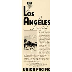 1934 Ad Union Pacific Railroad Los Angeles Limited