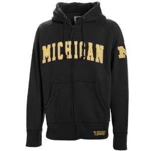 Michigan Wolverines Black Burn Full Zip Hoody Sweatshirt