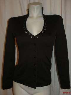 BFS01~LILI LALANDE Dark Brown Perforated Trim Long Sleeve Blouse Top
