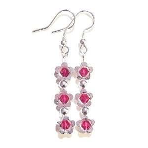 Flower & Swarovski Crystal Birthstone Earrings   July, Ruby Jewelry