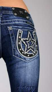 Miss Me Jeans Lady Luck Star Studded Horseshoe Denim Boot Cut JW6090B2