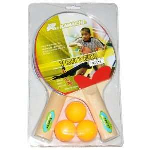 Kamachi Vortex Table Tennis Set, 2 Bats and 3 Balls Set