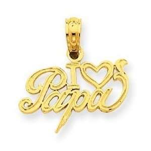 14k Gold I Heart Papa Pendant Jewelry