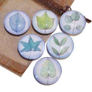 The Black Cat Jewellery Store Blue Leaves Glass Tile