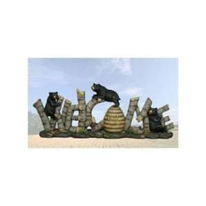 Welcome Bears Honey Bee Hive Twig Statue 3D Patio, Lawn