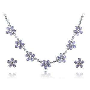 Simply Cute Violet Swarovski Crystal Element Etched Daisy