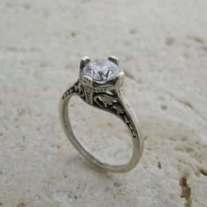 White Gold Antique Style Filigree Gold Ring or Ring Setting Jewelry