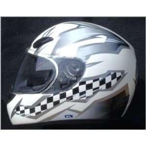 White Pattern Full Face DOT Motorcycle Street Bike Helmet
