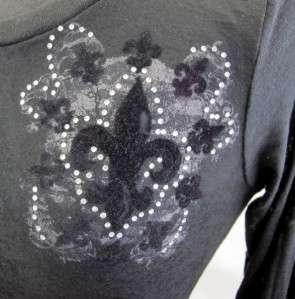 VOCAL Black Burnout Shirt Fleur de Lis Rhinestones NEW